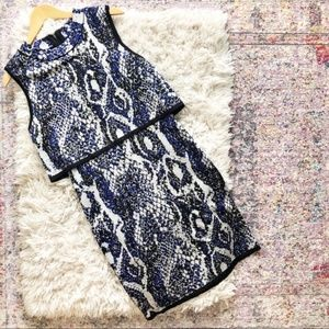 French Connection | Blue Snake Print Knit Dress 12